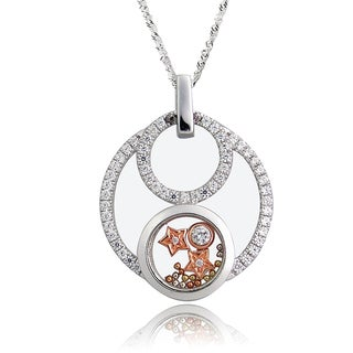 De Buman Two-tone Silver Cubic Zirconia and Crystal Star Necklace