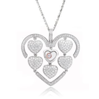De Buman Two-tone Silver Cubic Zirconia and Crystal Lots of Love Necklace