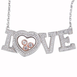 De Buman Two-tone Silver Cubic Zirconia and Crystal Love Necklace