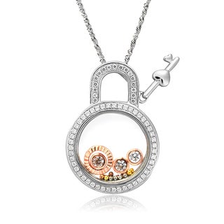 De Buman Two-tone Silver Cubic Zirconia and Crystal Lock and Key Necklace