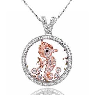De Buman Two-tone Silver Cubic Zirconia and Crystal Sea Horse Necklace