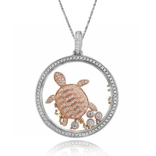 De Buman Two-tone Silver Cubic Zirconia and Crystal Turtle Necklace