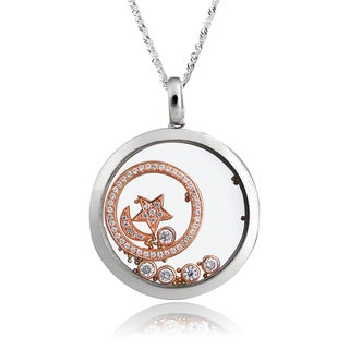 De Buman Two-tone Silver Cubic Zirconia and Crystal Moon and Star Necklace