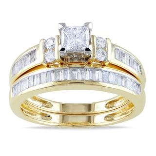 Miadora 14k Yellow Gold 1ct TDW Diamond Bridal Ring Set (G-H, I1-I2)
