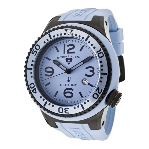 Swiss Legend Men's 'Neptune' Baby Blue Silicone Watch