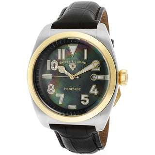 Swiss Legend Men's 'Heritage' Black Genuine Leather Watch