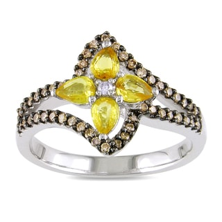 Miadora 14k Gold Yellow Sapphire and 1/4ct TDW Diamond Ring (G-H, I1-I2)