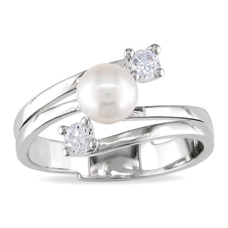 Miadora 18k White Gold Pearl and 1/5ct TDW Diamond Ring (G-H, I1-I2)