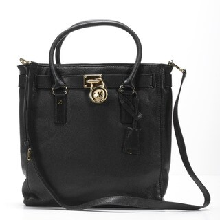 MICHAEL Michael Kors 'Hamilton North/South' Black Leather Tote
