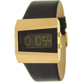 Black Dice Men's 'Chill' Black Leather Strap Digital Watch