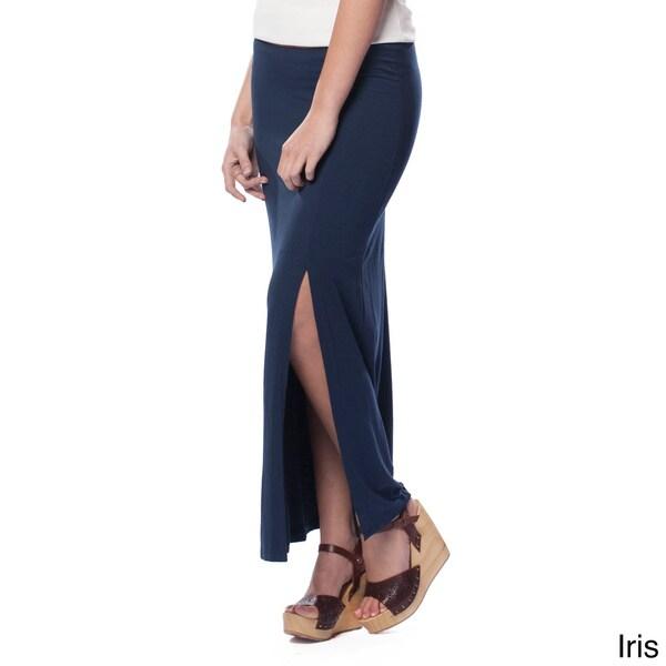 AtoZ Women's Leg Slit Maxi Skirt