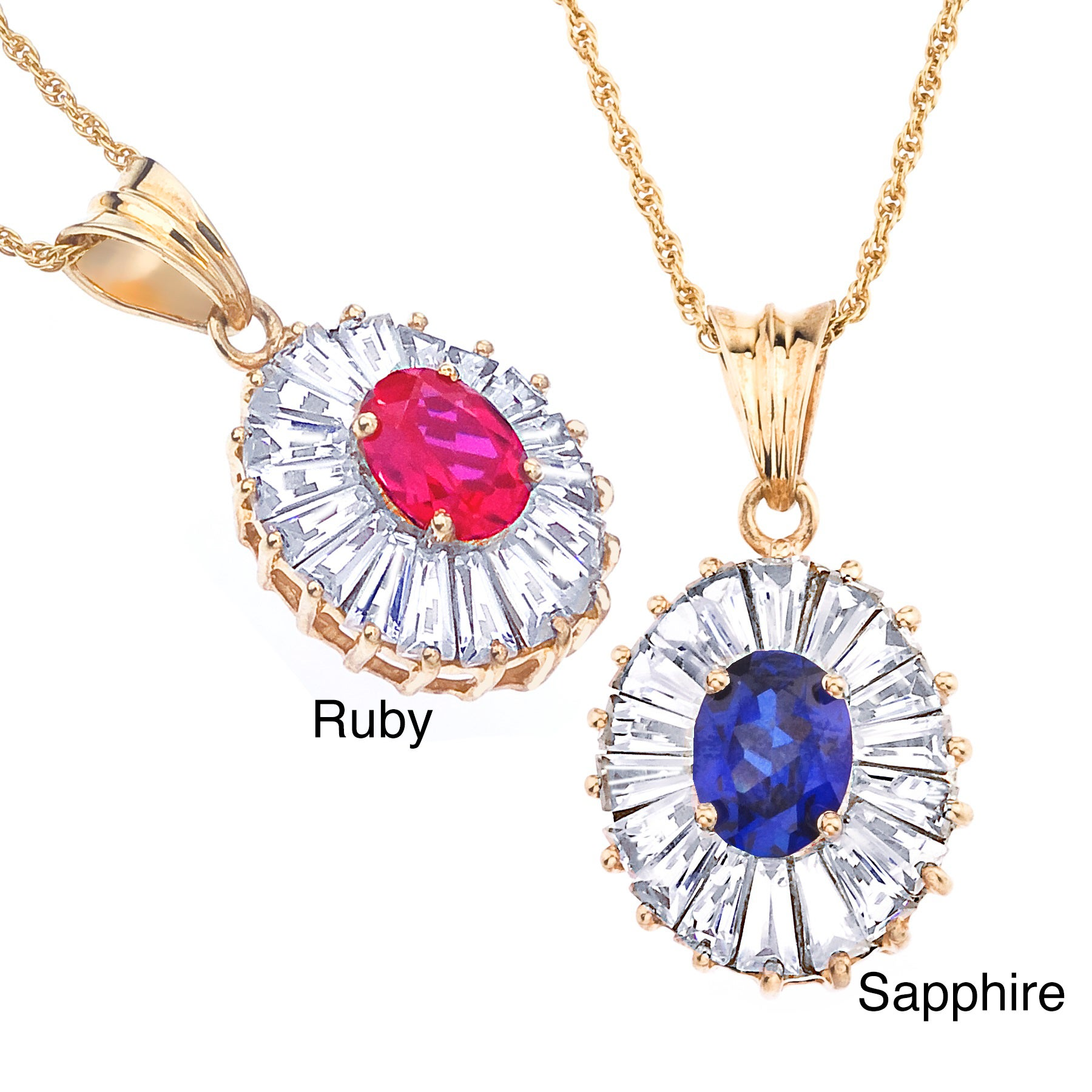14k Gold over Silver Created Sapphire or Ruby and White Topaz Necklace