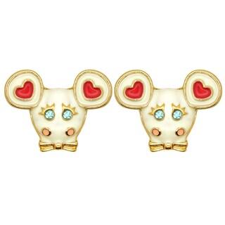 Kate Marie Goldtone Rhinestone Cow Design Fashion Earrings