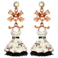 Kate Marie Rose Goldtone Rhinestone and Enamel Dress Design Earrings