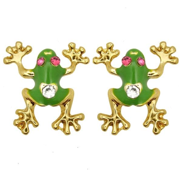 Kate Marie Goldtone White Rhinestone and Enamel Frog Design Earrings