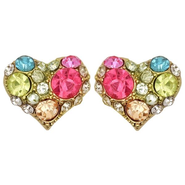 Kate Marie Goldtone Multi-colored Rhinestone Heart Design Earrings