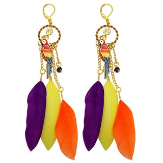 Kate Marie Goldtone Rhinestone Parrot Design Colored Feather Earrings