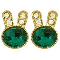 Kate Marie Goldtone Rhinestone Rabbit Design Earrings
