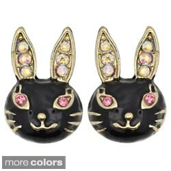 Kate Marie Goldtone Rhinestone Black Enamel Rabbit Design Earrings