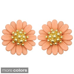 Kate Marie Goldtone Colored Enamel Petal Flower Earrings
