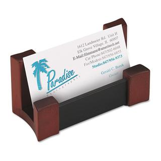 Rolodex Black/ Mahogany Wood and Faux Leather Desktop Business Card Holder