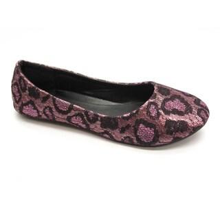 Blue Womens 'Gomez' Pink Leopard Print Flats