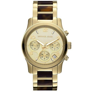 Michael Kors Women's MK5659 Tortoise Shell Gold-Tone Chronograph Watch