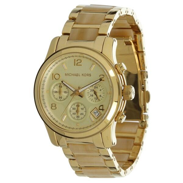 Michael Kors Women's MK5660 Horn Acetate Gold-Tone Stainless Steel Watch