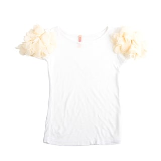 Paulinie Collection Flower Applique Short Sleeve Top