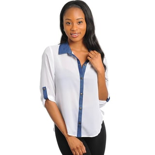 Stanzino Women's White Denim Contrast Button-down Shirt