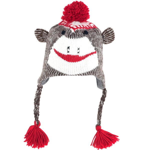 Adult Size Brown Sock Monkey Knit Hats (Set of 2)