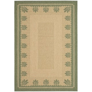Martha Stewart Palm Border Sand/ Green Indoor/ Outdoor Rug (4' x 5' 7)