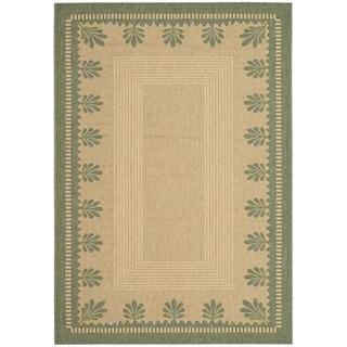 Martha Stewart Palm Border Sand/ Green Indoor/ Outdoor Rug (6' 7 x 9' 6)