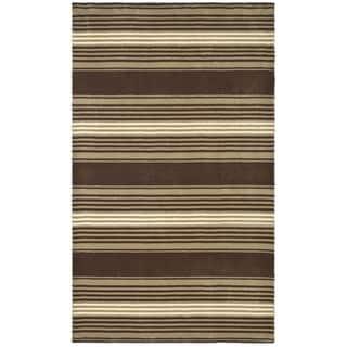 Martha Stewart Harmony Stripe Tobacco Leaf Wool Rug (4' x 6')