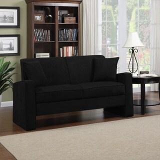 Portfolio Aviva Black Microfiber Track Arm Sofa