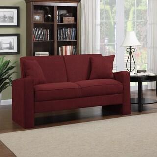 Portfolio Aviva Crimson Red Microfiber Track Arm Sofa