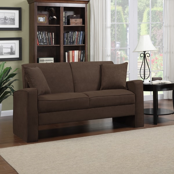 Better Living Aviva Dark Brown Microfiber Track Arm Sofa