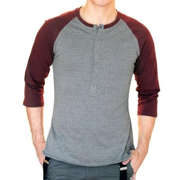 Something Strong Men's Grey-and-Red Slim Fit Raglan Baseball T-Shirt