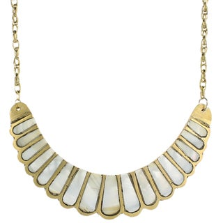 Handcrafted Shell Inlay Bib Necklace (India)