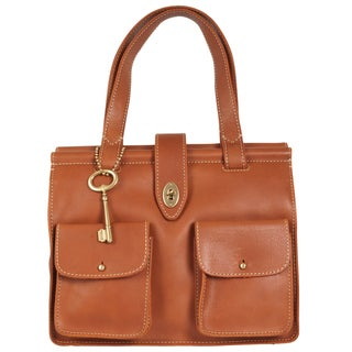 Fossil 'Austin' Brown Leather Turnlock Satchel