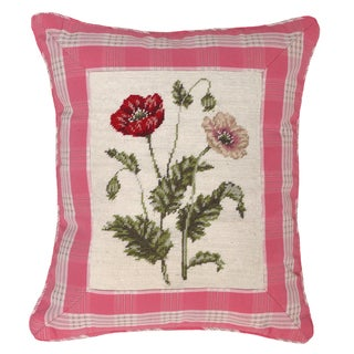 Poppy and Pink Plaid Petit-point Decorative Pillow