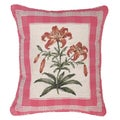 Tiger Lily and Pink Plaid Petit-point Decorative Pillow