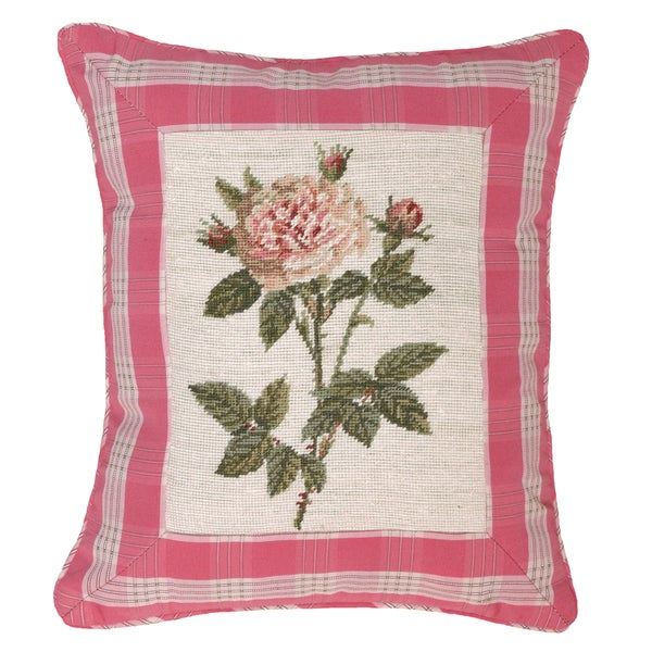 Rose and Pink Plaid Petit-point Decorative Pillow