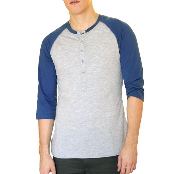 Something Strong Men's Blue-and-Grey Slim Fit Raglan Baseball T-Shirt