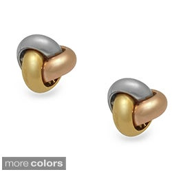 Gioelli Tri-color Goldplated Sterling-Silver Casual Love Knot Earrings