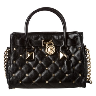 MICHAEL Michael Kors Small &#39;Hamilton&#39; Black Quilted Leather Studded Tote