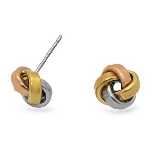 Gioelli Tri-color Goldplated Sterling Silver Love Knot Earrings