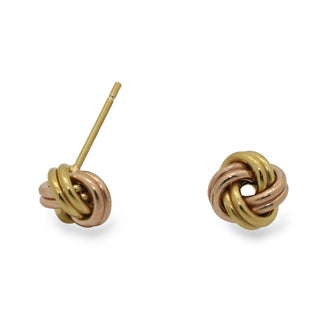 Gioelli Rose and Yellow Gold over Silver Love Knot Earrings