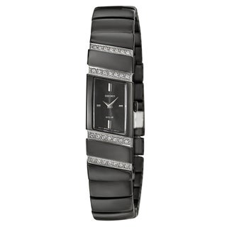 Seiko Women's 'Solar' Stainless Steel Black Ion-plated Quartz Watch