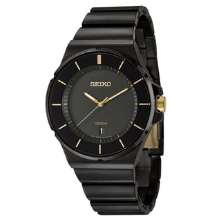 Seiko Men's 'Bracelet' Black Ion-plated Watch